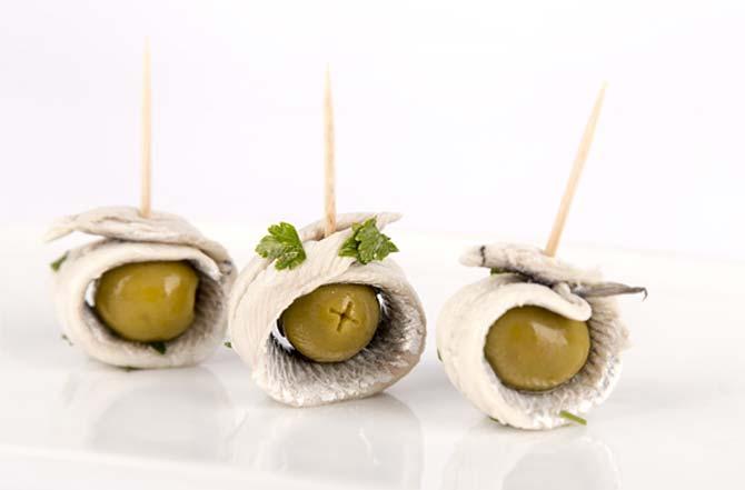 Boquerones gourmet Kilele con olivas